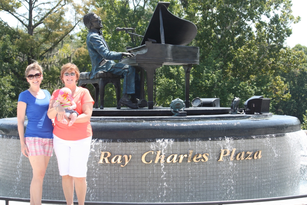 Taking everyone who visits us to see Ray Charles Plaza. This is my mom and my niece, Tenley.